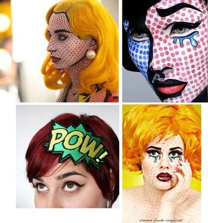 Comic book heroine: Holiday, Art Costume, Halloween Costume Ideas, Halloween Costumes, Pop Art Comic, Halloween Makeup, Comic Books, Halloween Ideas, Makeup Idea