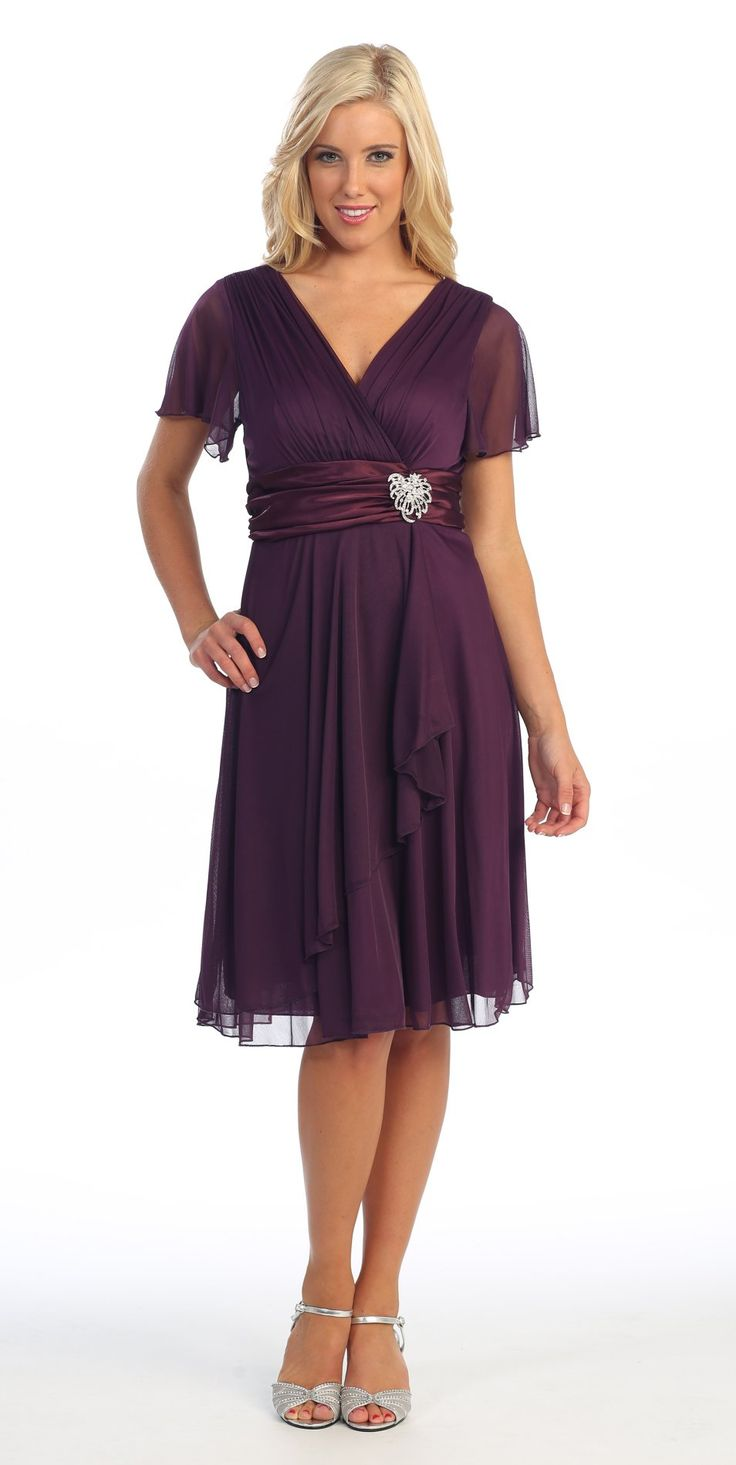 short sleeve black modest knee length dress v neckline chiffon 6 colors available semi formal dressesdresses for weddingmother