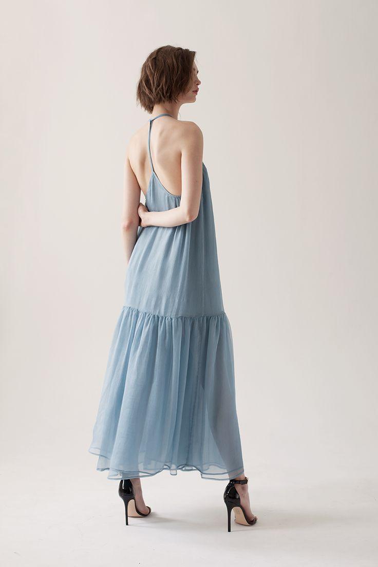 Платье из итальянского шифона с открытой спиной в серо-голубом цвете - NUANCES