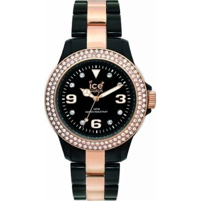 Ice-Watch Unisex ST.BK.U.P.09 Stone Collection Black and Gold Plastic Watch