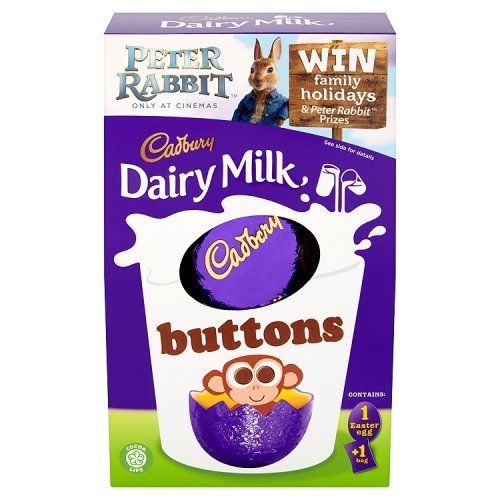 A medium sized hollow chocolate egg is accompanied by a bag of Dairy Milk Buttons for an Easter treat that'll satisfy any sweet tooth.