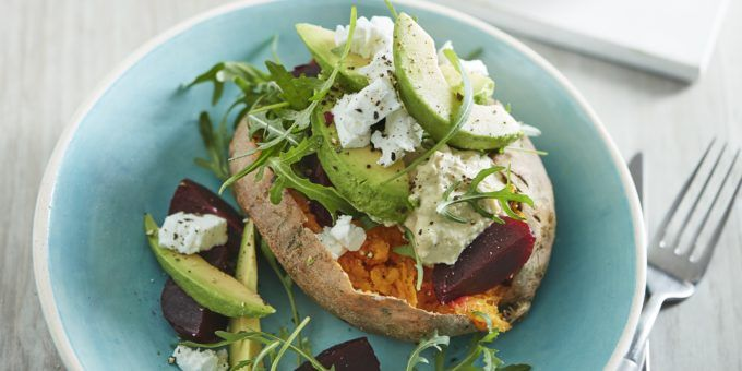 I Quit Sugar - Baked Sweet Potato with Houmous, Beetroot and Avocado