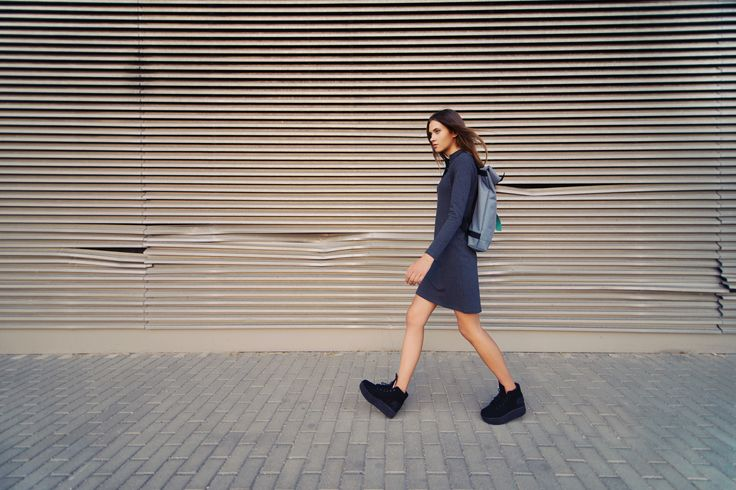 urban uniform #8 = everyday polo dress + cloudy landscape backpack + black head shoes