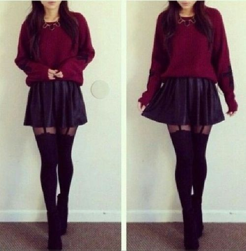 Sweater, skirt, tights | My style | Pinterest