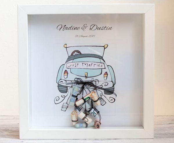 Geld als huwelijkscadeau in een fotolijstje DIY | www.bruiloftinspiratie.nl