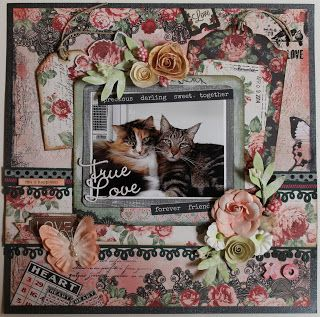 ShelbyDoodle Designs: Scraps of Darkness January Inspiration Challenge. Love / Cats / Pets Layout by Nancy Smith, created with our Jan. Beloved Kit, featuring lots of BoBunny Love & Lace and Prima Flowers. Find our kits at www.scrapsofdarkness.com