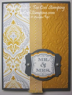8 New Products!  Eastern Elegance DSP, Beautifully Baroque Embossing Folder, Label Love stamps, Artisan Label Punch, Deco Labels Collection Framelits, Crushed Curry card stock, Crushed Curry Chevron Ribbon and Smoky Slate ink ~www.TooCoolStamping.com