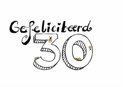 Gefeliciteerd 30 zwart witte kaart met lieveheersbeestjes tekst: gefeliciteerd 30