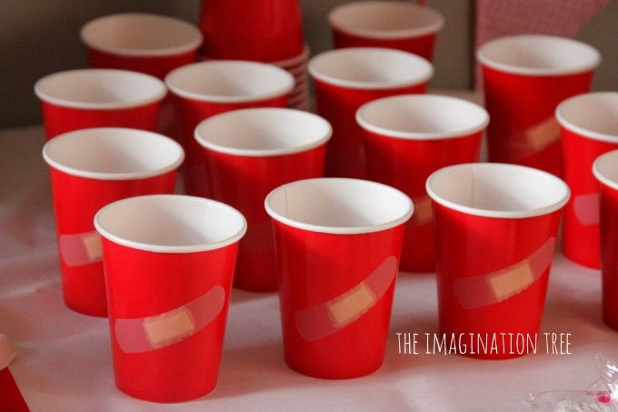 Doctor themed party cups Write people's names on the bandaids so no one loses their cup?