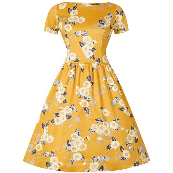 Yellow Floral Eloise Dress ❤ liked on Polyvore featuring dresses, pleated dress, high neck dress, circle skirt, high neckline dress and floral print skater skirt