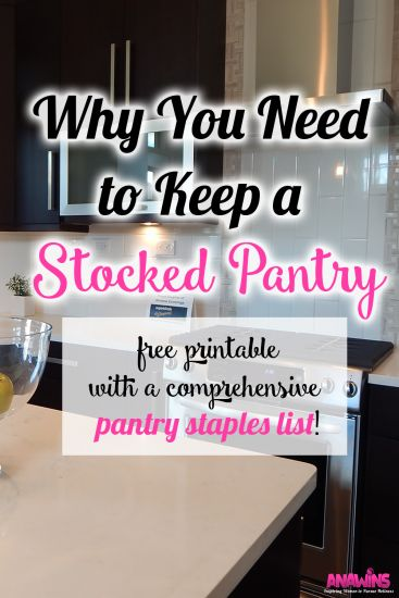 Frustrated with never having staple items in stock in your home? Are you always running to the grocery store at the last minute? It doesn't have to be that way! Find out why you need to keep a stocked pantry and get your FREE pantry staples list printable!