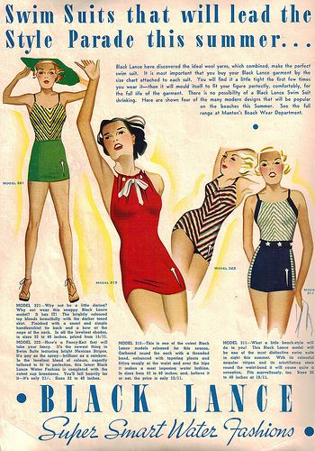 Swimsuits that will lead the style parade this summer. Vintage #1930's fashion poster. Repinned from Vital Outburst clothing vitaloutburst.com
