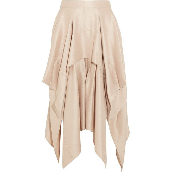 Barbara Casasola Draped asymmetric silk-crepe skirt ($300) ❤ liked on Polyvore featuring skirts, draped skirts, beige skirt, draped asymmetrical skirt and asymmetrical skirts