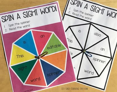 Editable Sight Word Spinners  These have been created for quick and easy sight word practice. Just type in the words you want (or the words your kids want) print one off and you're ready to go. I've used a split pin and paper clip to make a spinner but you can use a brad or teach your kids how to spin a paper clip around a pencil tip. Pop over to Liz's Early Learning Spot to grab your free sight word spinners now!  Till next time!   Editable editable sight words Liz's Early Learning Spot…