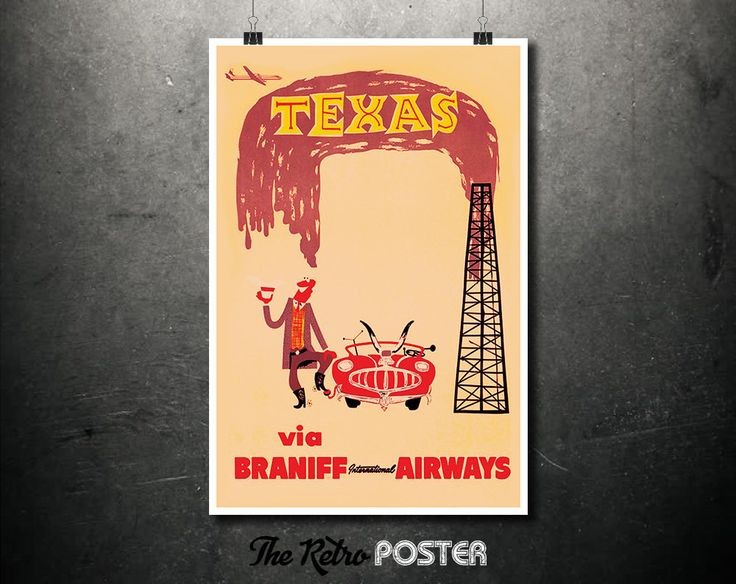 Texas - Braniff International Airways - Texas Vintage Travel Poster, Wanderlust, Travel Prints, Airline Poster, Texas Print, 1960s Posters by TheRetroPoster on Etsy