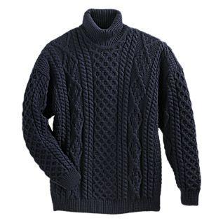 Men's Irish Aran Turtleneck Sweater $149