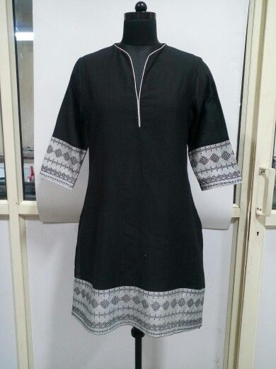 Handloom Tussar with Foil border Silk Kurti