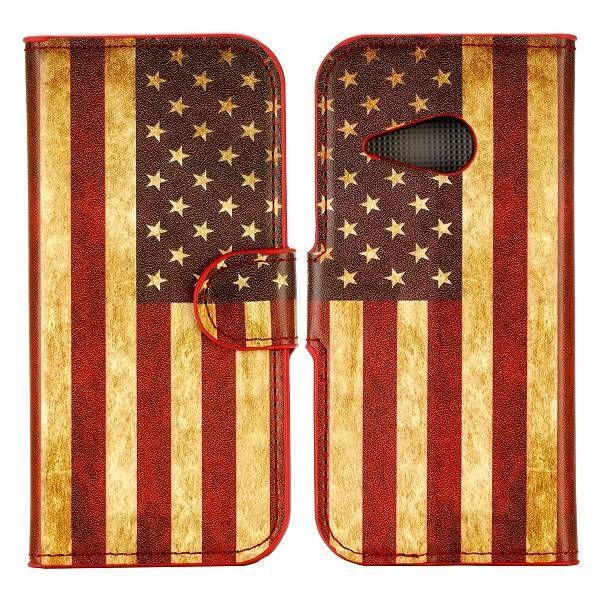 Amerikaanse vlag booktype hoesje voor HTC One Mini 2