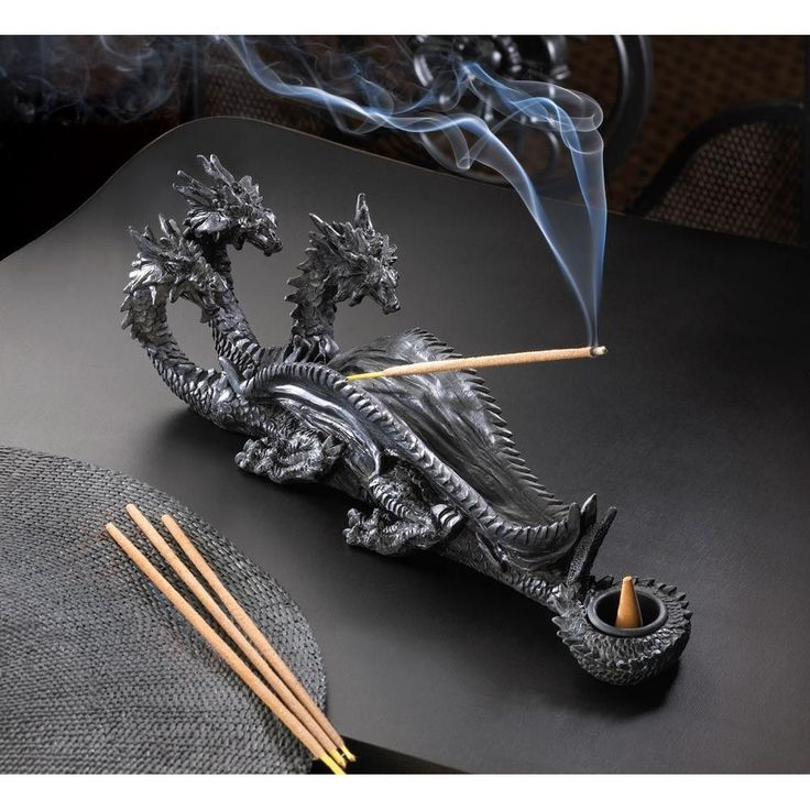 Sinister in appearance yet fascinating to behold, this triple-headed dragon lends its legendary image to your décor. Add your favorite incense to create a mystical scene from the pages of legend and l