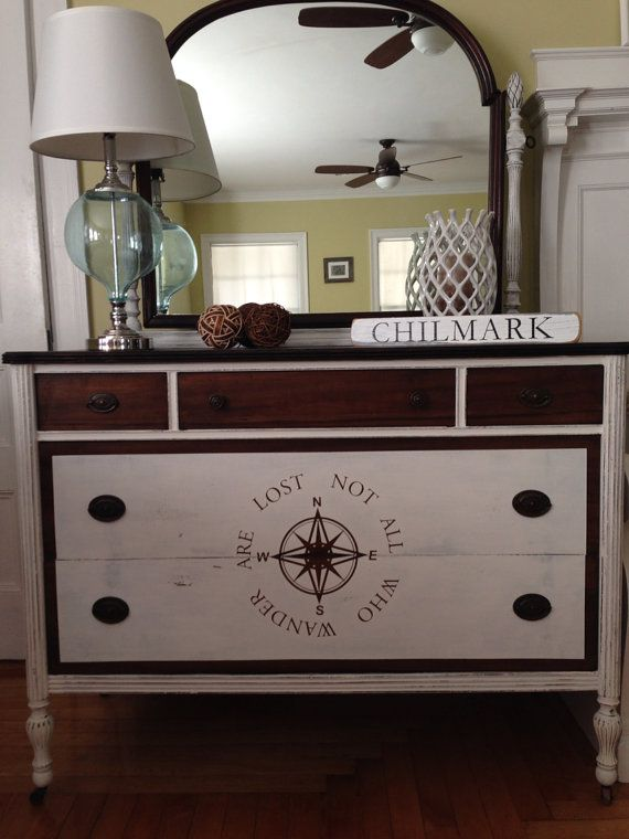 Nautical Hand Painted Antique Dresser With Mirror On Etsy Inredning Pinterest