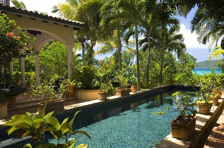 Amazing pool and garden overlooking the Caribbean Sea