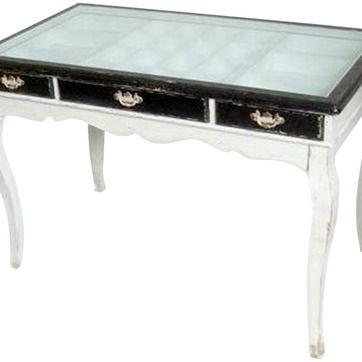Skrivbord m. lådor och glasskiva