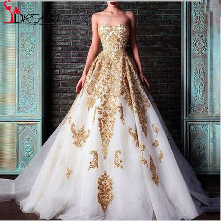 Find More Evening Dresses Information about 2016 New Long Evening Dresses Puffy Ball Gown Gold Lace Applique Sweetheart Court Train Formal Prom Dresses Gowns Vestidos,High Quality gown ball,China dress size 8 measurements Suppliers, Cheap gown evening dress from Orenda Wedding Dress Factory on Aliexpress.com