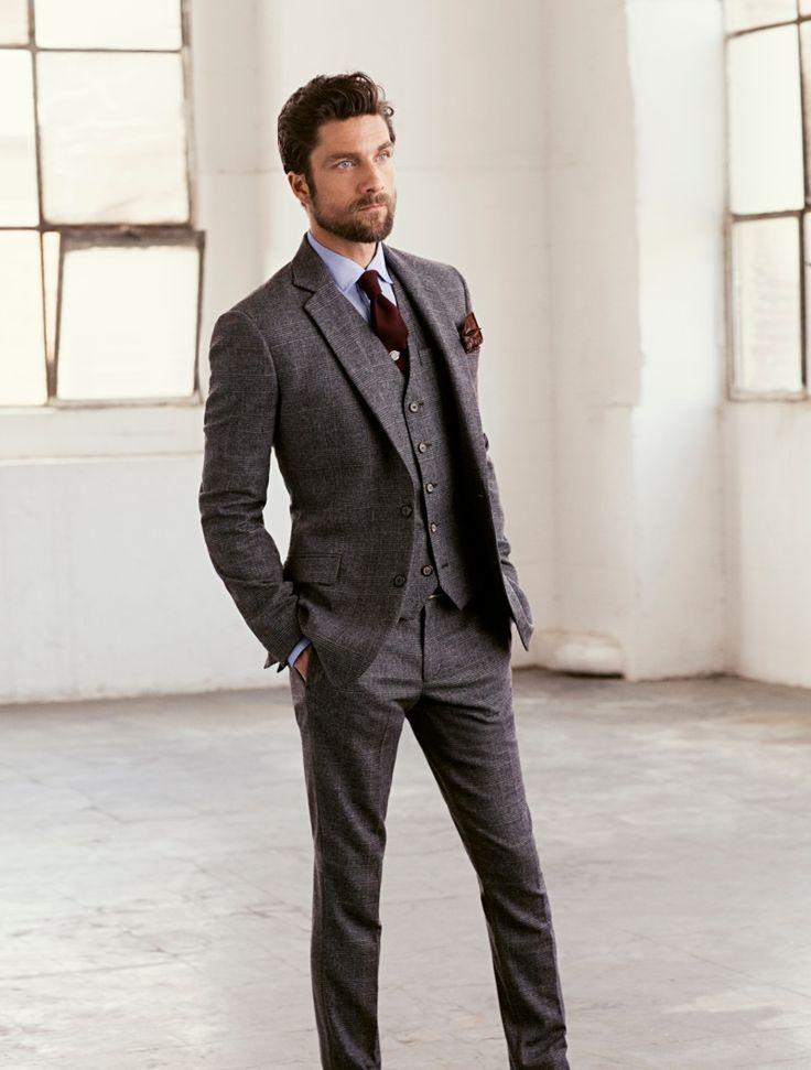 grey suit blue shirt maroon tie men 39 s fashion pinterest sexy the gentleman and facebook. Black Bedroom Furniture Sets. Home Design Ideas