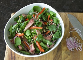 Easy packed lunches - flank steak salad