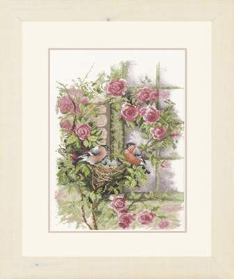 Nesting Birds in Rambler Rose by Lanarte - Cross Stitch Kits & Patterns