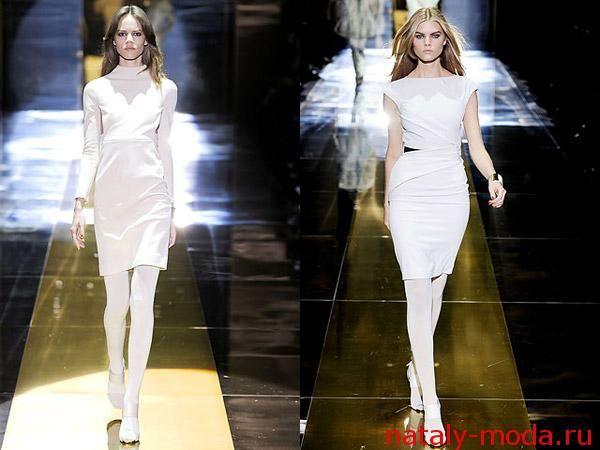 белые колготки с классическими платьями - свежее решение для офиса