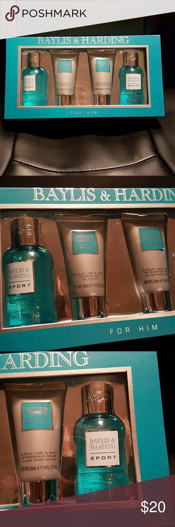Baylis & Harding mens shower set New. Baylis & Harding England mens set including citrus lime and mint hair and body wash, shower gel, aftershave balm and face wash.  batch number 1509 101. Baylis & Harding England  Other