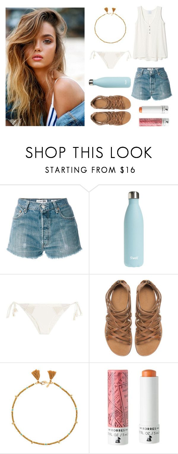 """Girl Next Door Vibes 🏡"" by jess-heppell-designer on Polyvore featuring RE/DONE, S'well, Eberjey, Zara, Shashi and Korres"