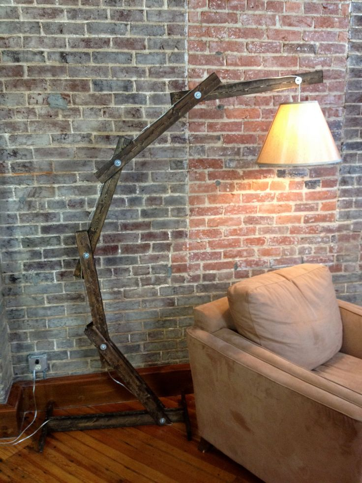 Rustic Wooden Cantilever Floor Lamp. By A Walk Through the Woods. I like the rustic-industrial design. Not in love with the lampshade.
