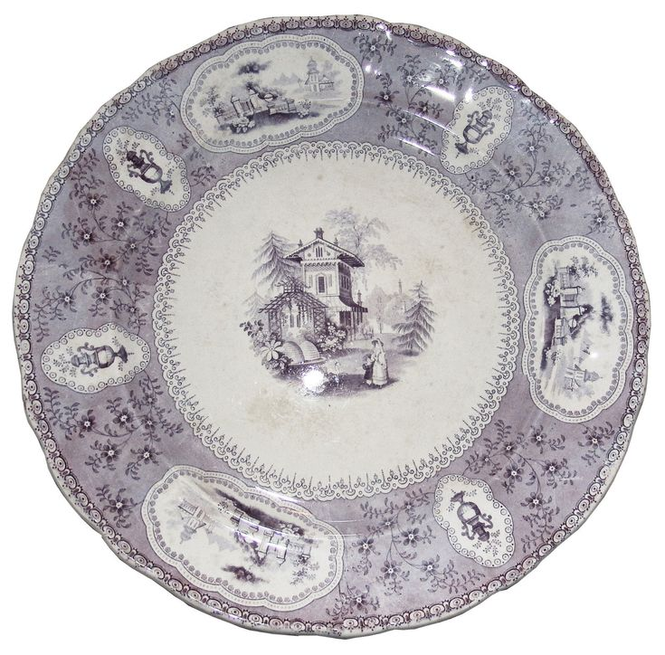 Large Antique Samuel Alcock Mauve Florentine China Platter 380mm Ca 1835 | Pearl pattern