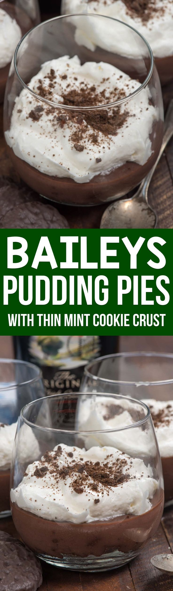 Baileys Pudding Pies are EASY to make using chocolate pudding mix and whipped cream! They have a THIN MINT COOKIE crust and taste so much like Baileys. via @crazyforcrust