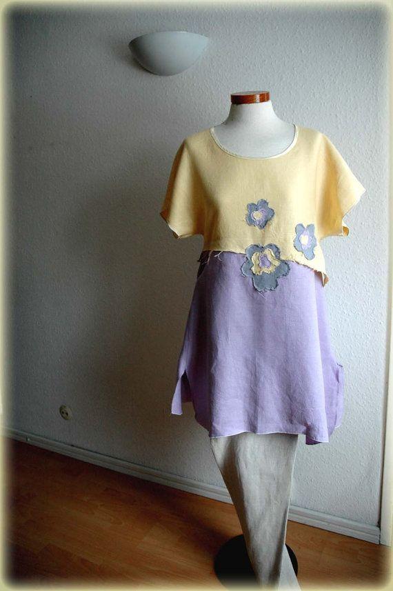Linen Tunic Kimono Pastel Eco Friendly  Fiber Art Natural Linen Clothing