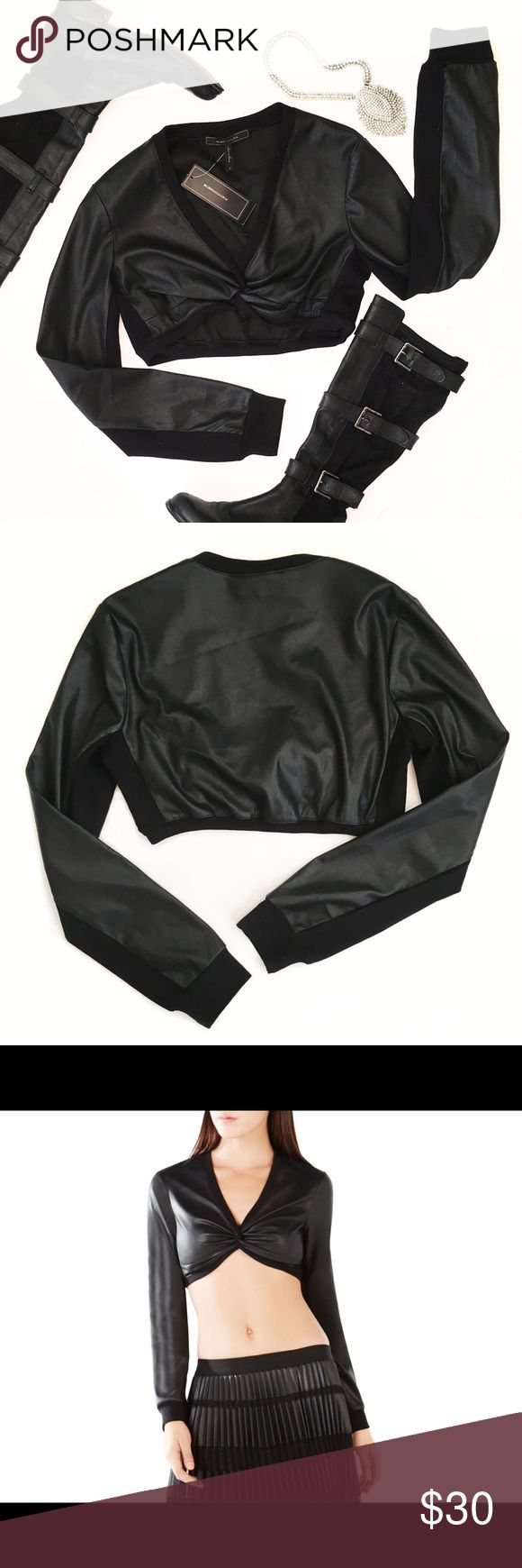 BCBG Vegan Leather Crop Top Edgy and sexy! Try it with a high waisted shirt and leggings! 🤘🏻 BCBGMaxAzria Tops