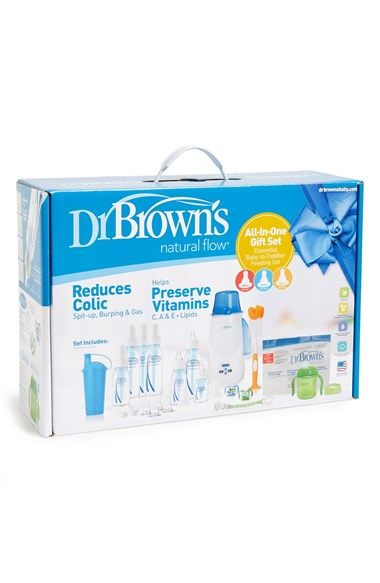 Free shipping and returns on Dr Brown's All-in-One Baby Bottle Gift Set at Nordstrom.com. Give new parents a little peace of mind with this all-in-one gift set from Dr Brown's. Set includes three bottle sizes and three different nipple types for age-appropriate flow rates. The high-grade silicone nipples are designed with a patented internal vent system meant to prevent air bubbles and the resulting feeding problems including burping and gas, while helping to maintain essential vitamins in…