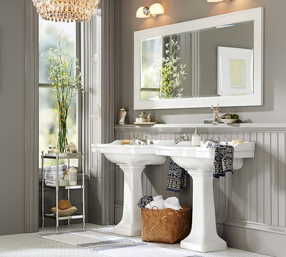 Pottery Barn Sussex Pedestal Sink: Metal Etagere, Tall, Polished Nickel Finish At Pottery