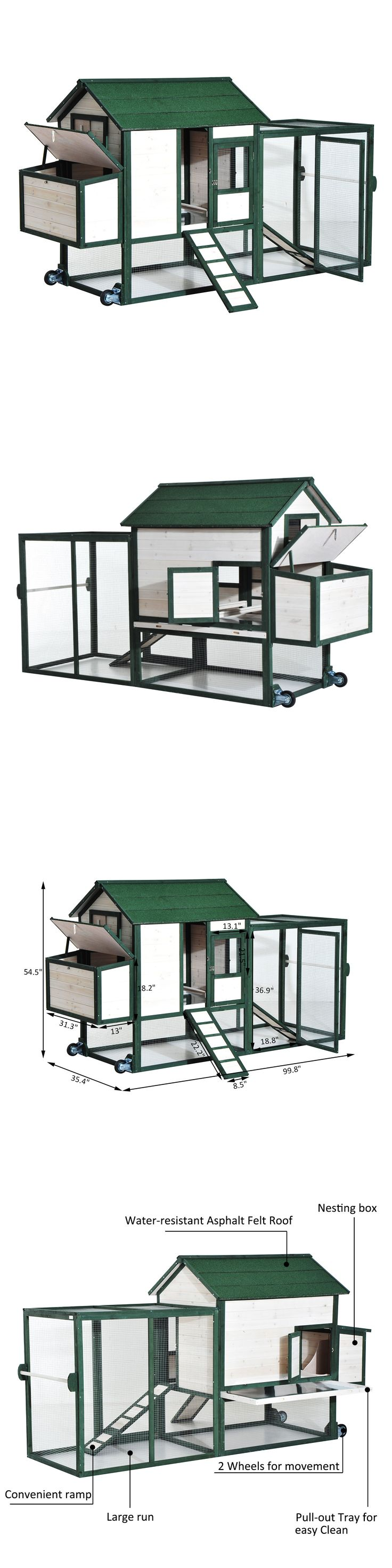 Backyard Poultry Supplies 177801: 100 Large Wooden Chicken Coop Hen House Pet Poultry Cage Nest Box W Wheels -> BUY IT NOW ONLY: $399.99 on eBay!