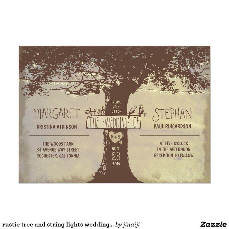 素朴な木およびひもライト結婚式招待状 12.7 X 17.8 インビテーションカード