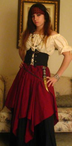 Lovely Romatic Renaissance Women Wench Pirate Costume Full Set Any Color Preferences. $99.99, via Etsy.