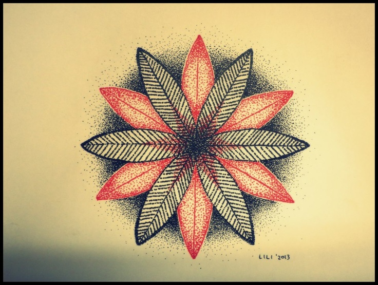 life flower, dotwork art