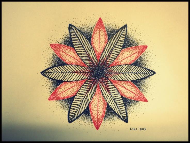 life flower, dotwork art