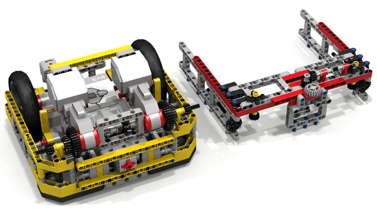 """This Lego Mindstorms EV3 robot is good for FIRST Lego League (FLL) robot game competitions.  It improves upon the """"Fllying Tortoise EV3 Robot"""" in this Flickr album; see the adjacent photos to get different views of the """"Fllying Box Turtle"""" concept.  It sports four EV3 Large Motors (two for driving and two for powering attachments), an EV3 Gyro Sensor, two EV3 Color Sensors, and an EV3 Touch Sensor.  The quick on/off top """"shell"""" can pin onto the """"Box Turtle"""" base and mesh with the base's…"""