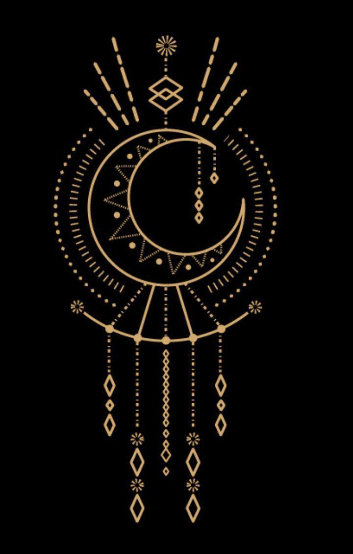 2017 trend Geometric Tattoo – Gold moon graphics – art #Tattoos