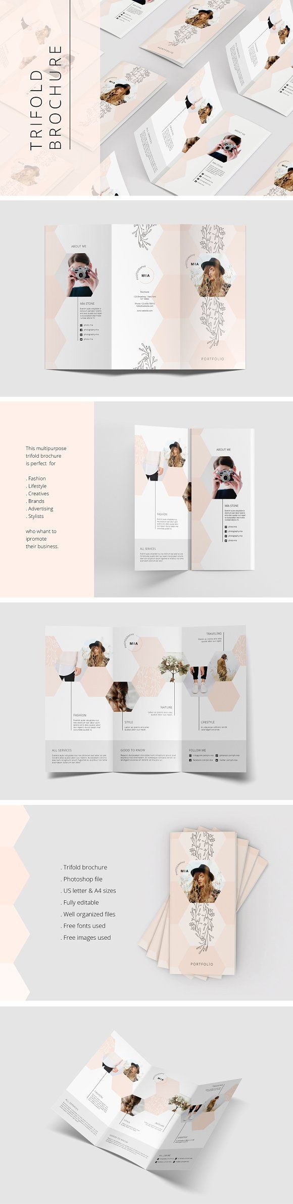 Portfolio Trifold Flyer Rhombus by AgataCreate on @creativemarket