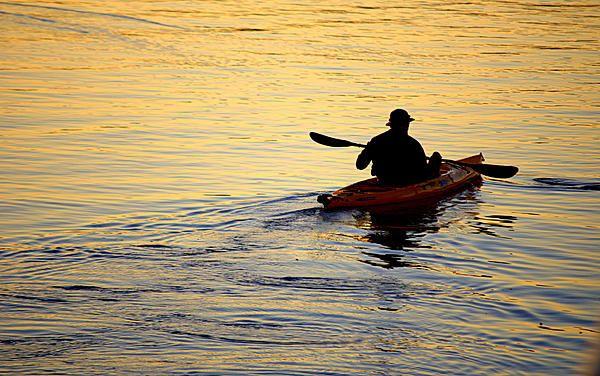 Kayakker at Sunset
