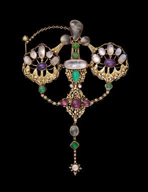 John Paul Cooper, English, Arts and Crafts, 1908. Gold (15 kt), ruby, moonstone, pearl, amethyst, and chrysoprase